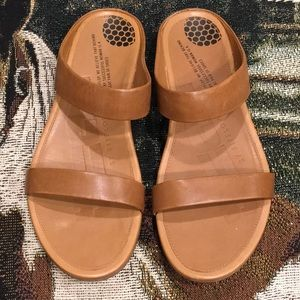 Fitflop slides genuine leather tan